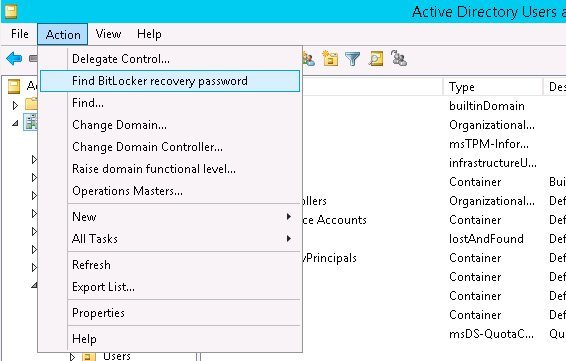 active directory bitlocker recovery key