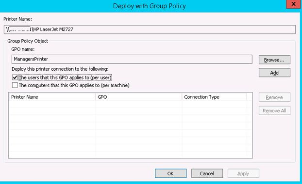 deploy printers group policy