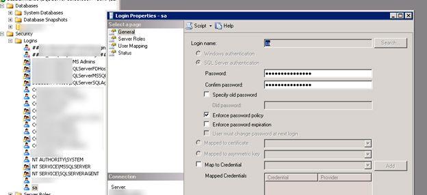 sql server 2012 reset sa password