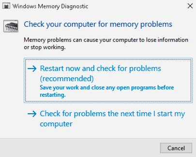 windows memory diagnostic check