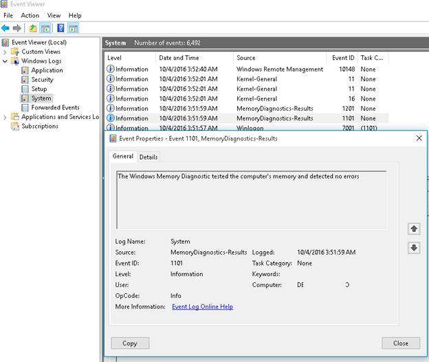 windows memory diagnostic event