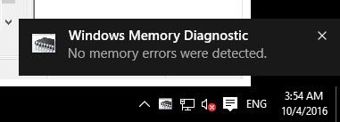 windows memory diagnostic no error