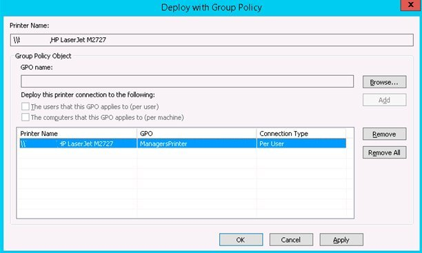 print management deploy with group policy