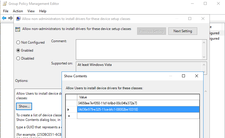 allow non-administrators to install drivers for these device setup classes