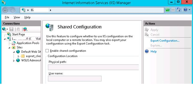 iis shared configuration