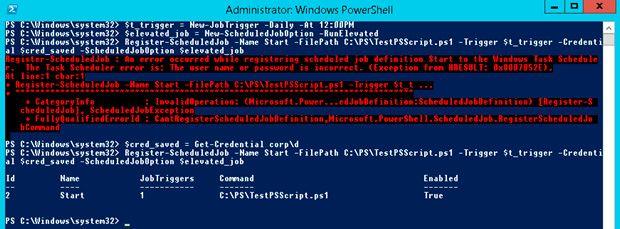 task scheduler run powershell script