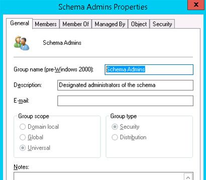 schema admins properties group