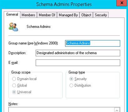 schema admins properties group