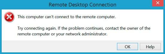 RDP error: This computer can't connect to the remote