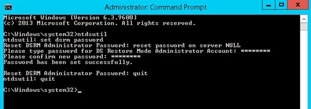 dsrm administrator password