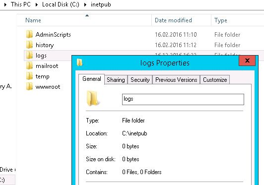 iis log properties