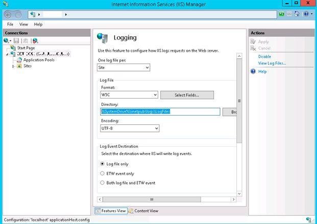 iis logging configure