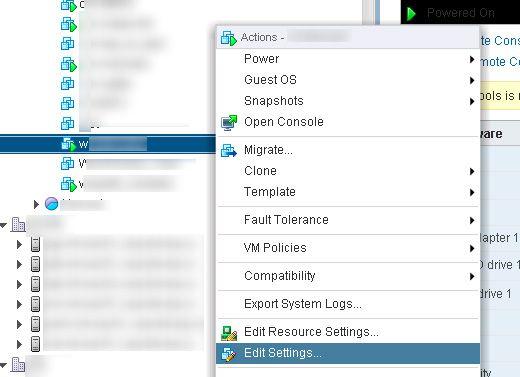edit settings vmware