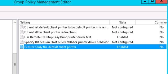 enable redirect printer