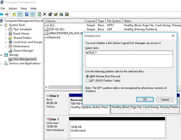 initialize disk vmware