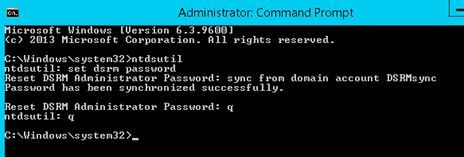reset dsrm admin password