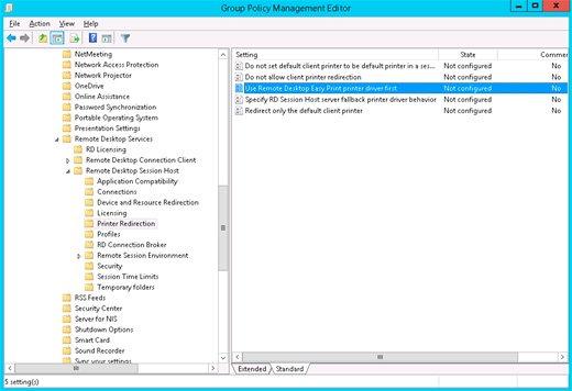 Config Remote Desktop Easy Print on Windows Server 2016/2012