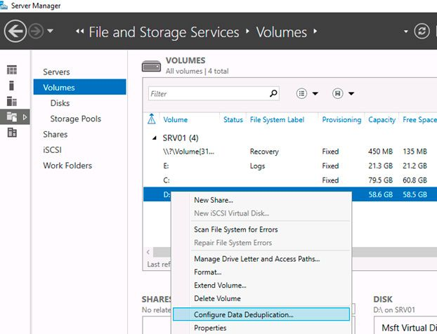 deduplication windows server 2016