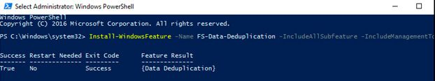 data deduplication powershell install