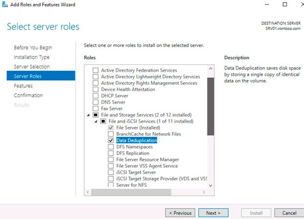 data deduplication server 2016