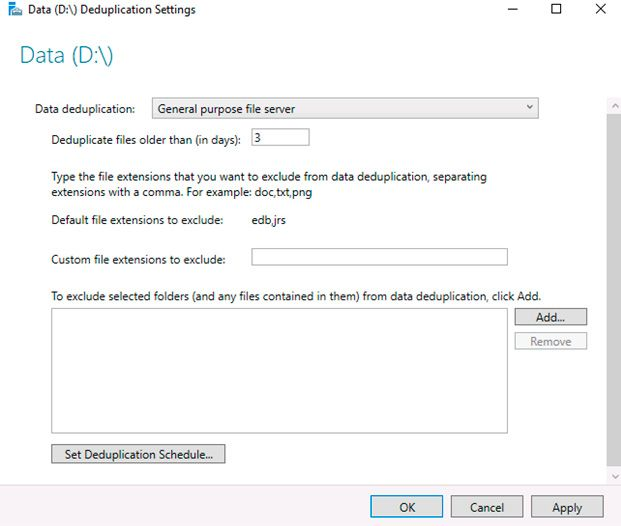 deduplication settings windows server 2016