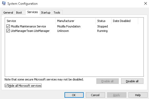 windows 10 system config services