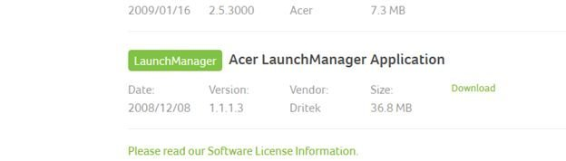 acer launch application