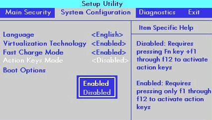 hp setup utility