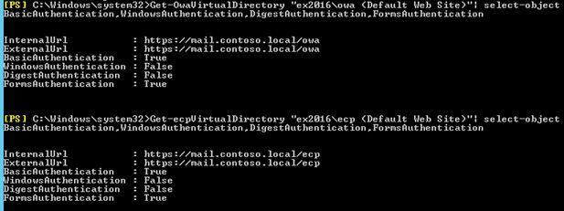 exchange 2016 reset virtual directories