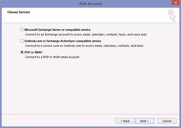 account add outlook pop imap
