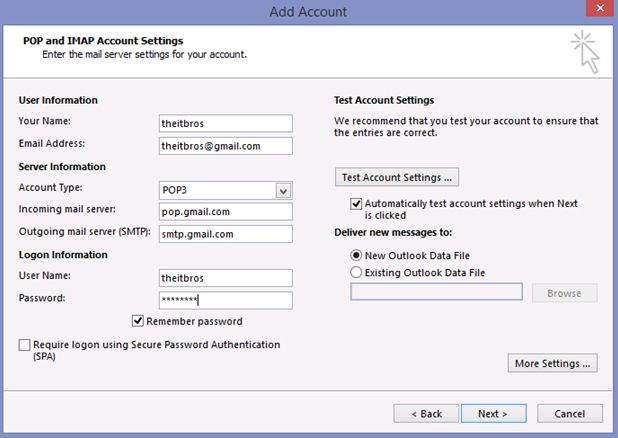 account add pop imap settings