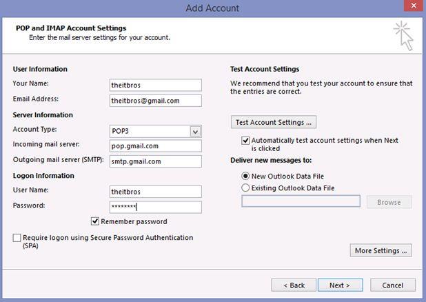 account add pop imap settings