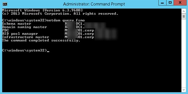 command prompt fsmo roles