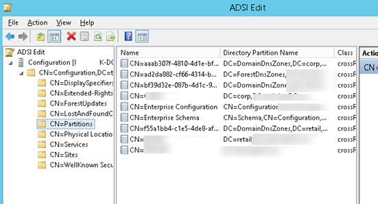 domain naming master partitions