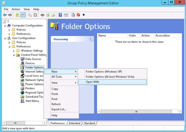 group policy folder options