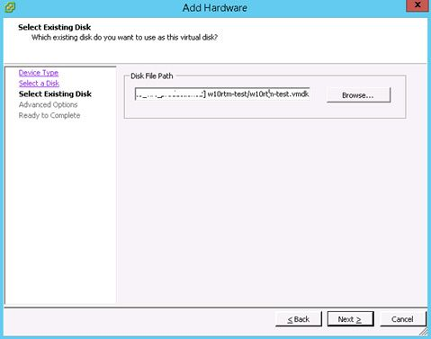 select existing disk