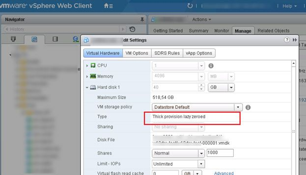 convert thick to thin vmware