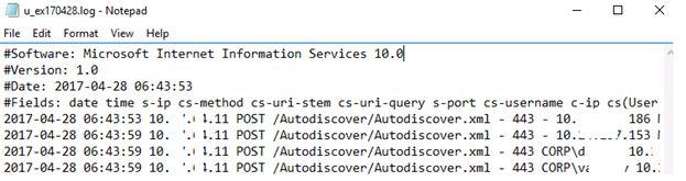 IIS log file