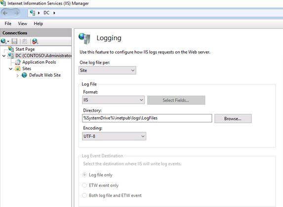 IIS logging options