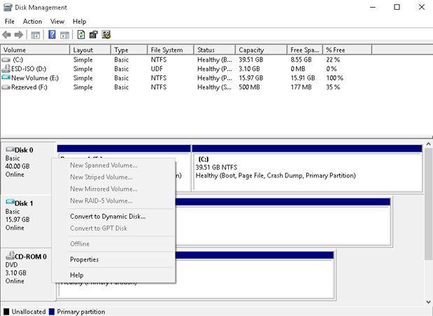 disk management convert