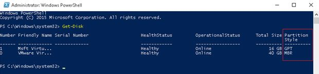 powershell partition style