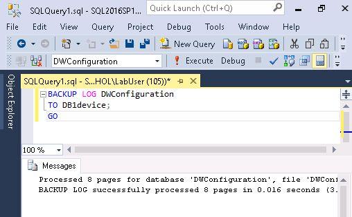 sql server DWConfiguration