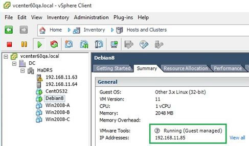 cent os vmware tools guest managed