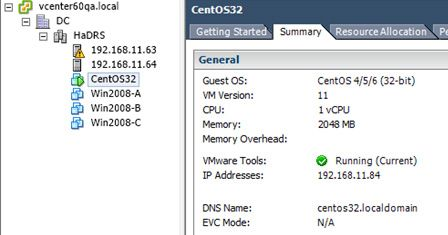 cent os vmware tools running