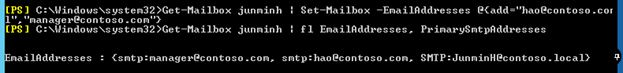 add smtp address powershell