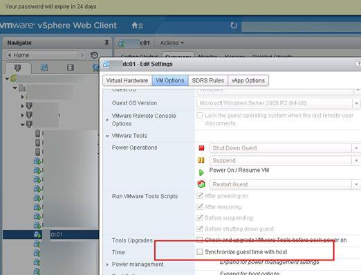 vmware disable time sync domain controller
