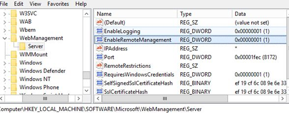 IIS enable remote management