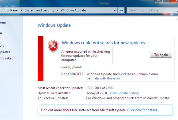 How to solve the windows update error 80072ee2