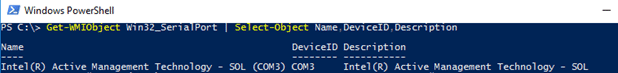 COM ports in use powershell