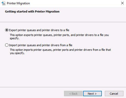 migrate printers from 2008 r2 to 2016